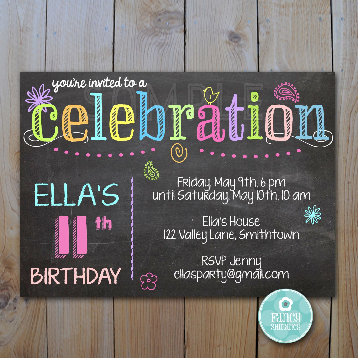 Printable Party Invitation / Chalk and Neon Celebration / Instant ...