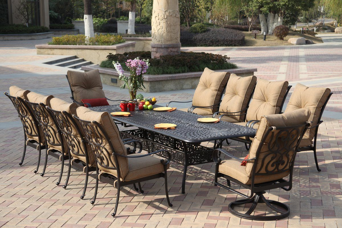 Lanesville 11 Piece Dining Set With Cushions Modern Patio Furniture Patio Dining Set Outdoor Dining Room