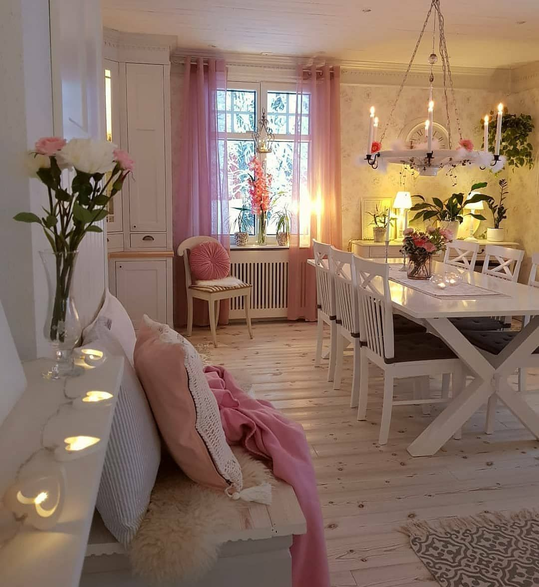 Helena On Instagram Pink Vibes Candle Light And A Snowy View Outside Here In Sweden There Is A Lot Of Talk About The Corona V In 2020 Cool Rooms Pretty Room Home