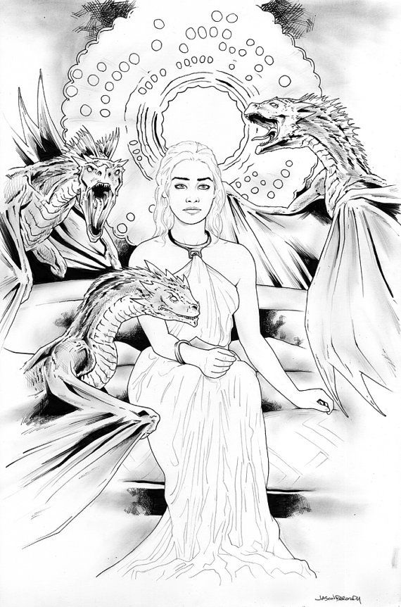 Daenerys Targaryen Game Of Thrones Coloring Pages And Line Art