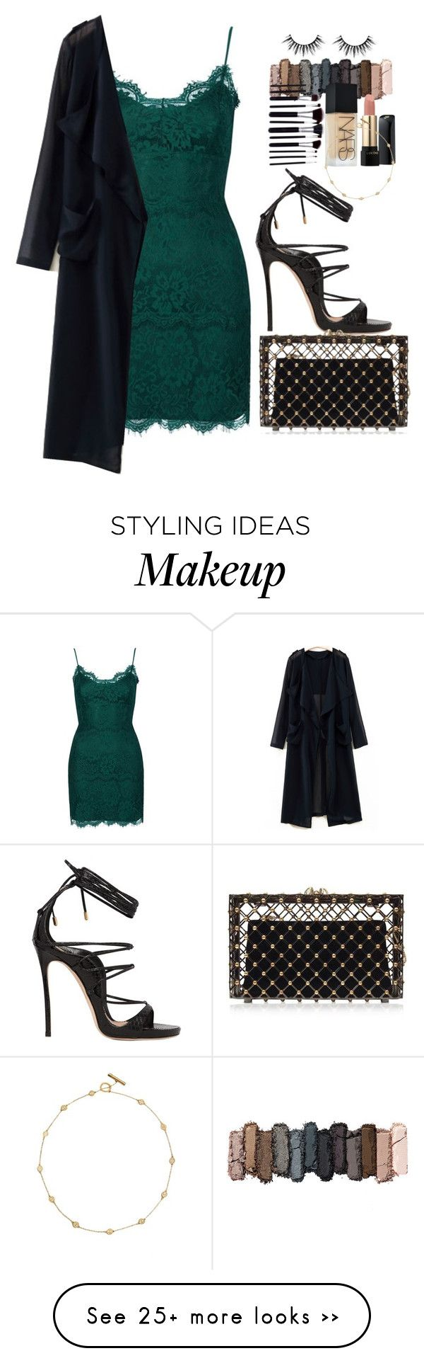 """""""OUTFIT: The Second Date"""" by awomanofparis on Polyvore featuring Topshop, Dsquared2, Charlotte Olympia, Urban Decay, Lancôme, NARS Cosmetics, Tory Burch, dress and emerald"""