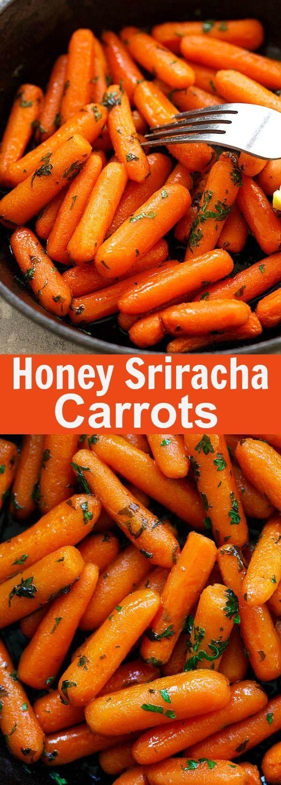 Honey Sriracha Roasted Carrots - Roasted baby carrots in a ...