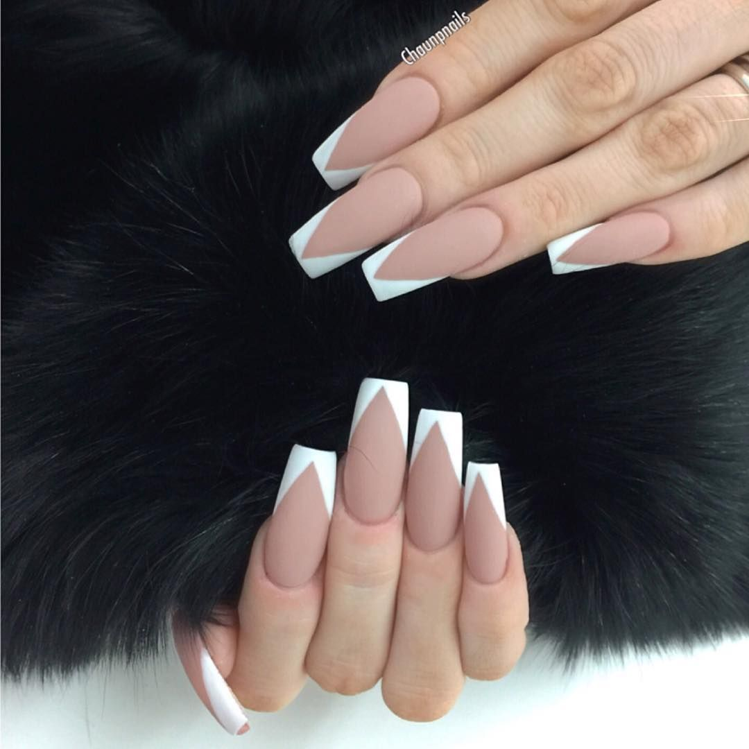 Matte Nude + White square tip long nails. This shape + design ...