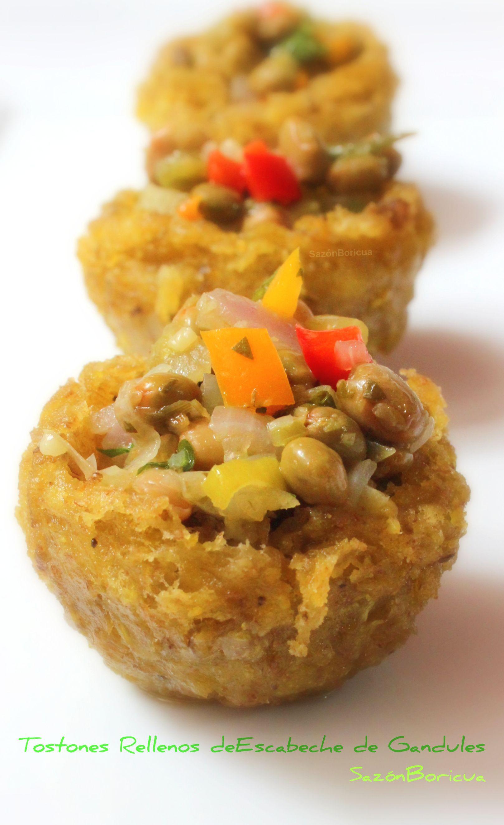 Tostones rellenos de escabeche de gandules | Boricua recipes, Food, Recipes