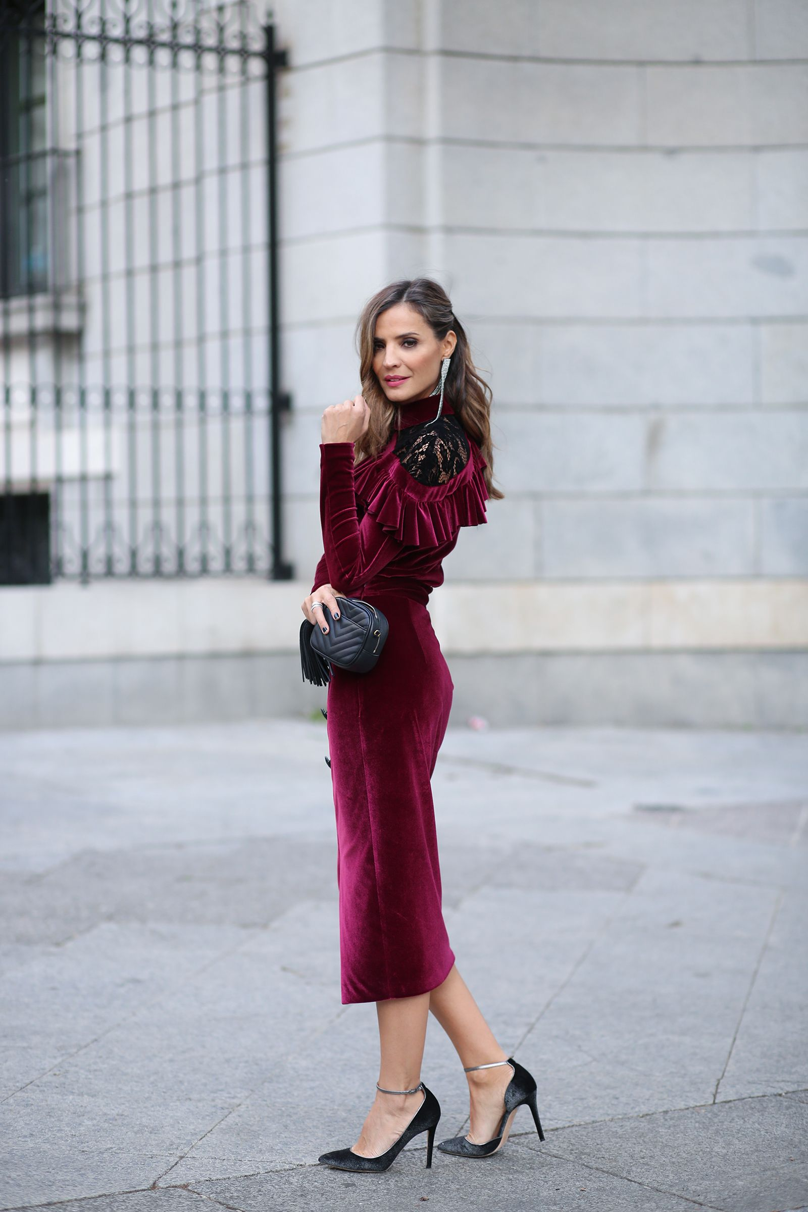 Glamour 15th anniversary | Evening wedding guest outfits, Velvet ...