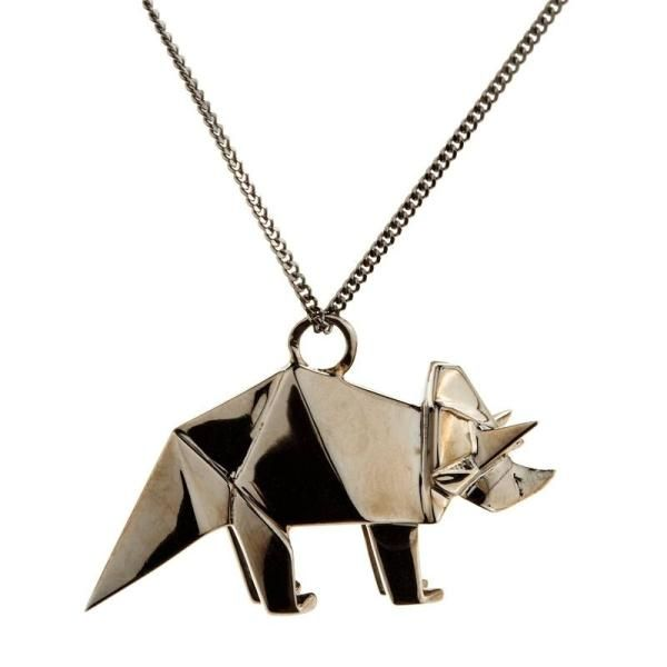 Origami Jewellery Sterling Silver Mini Triceratop Origami Necklace hSueL1yvd