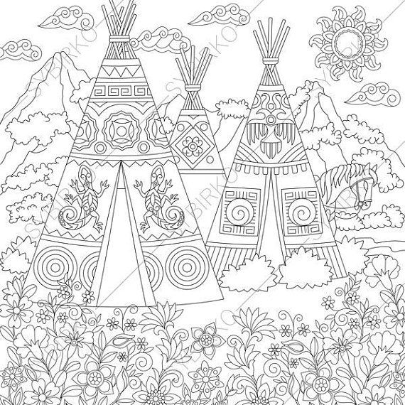 Native American Indian Village Landscape With Teepee Tents Coloring Page Coloring Book Pages For Kids A Mandala Coloring Pages Coloring Pages Coloring Books