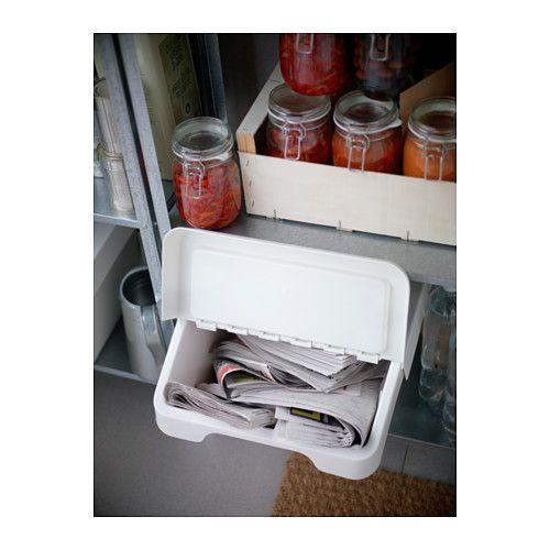 Sortera contenitore rifiuti con coperchio bianco bidoni for Ikea contenitori vetro