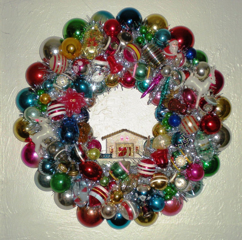 Christmas Kitsch Wreath Vintage Christmas Ornament Wreath