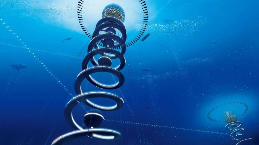 """Ocean Spiral, Bauen wir unsere Städte bald im Wasser? Japanische Forscher haben mit der """"Ocean Spiral"""" ein modernes Atlantis entworfen"""
