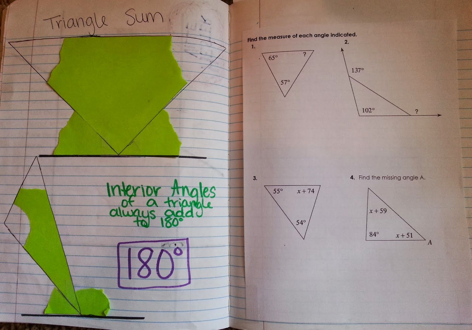 8th Grade Math Interior Angles Equal 180