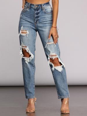 Tobi Super High Waist Mom Jeans