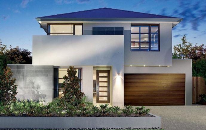 Fachadas gris con blanco fachadas pinterest fachadas for Casas de plastico para jardin