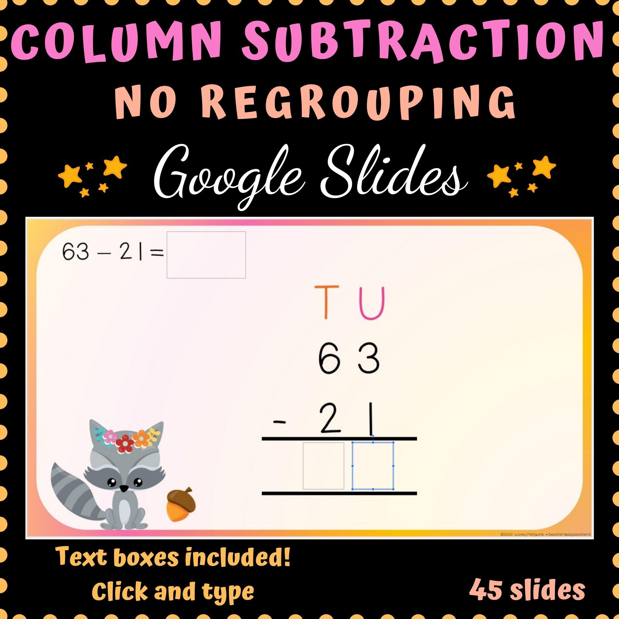 Column Subtraction No Regrouping Google Slides 2 Digits 3 Digits Subtraction Regrouping Addition And Subtraction How to explain column addition