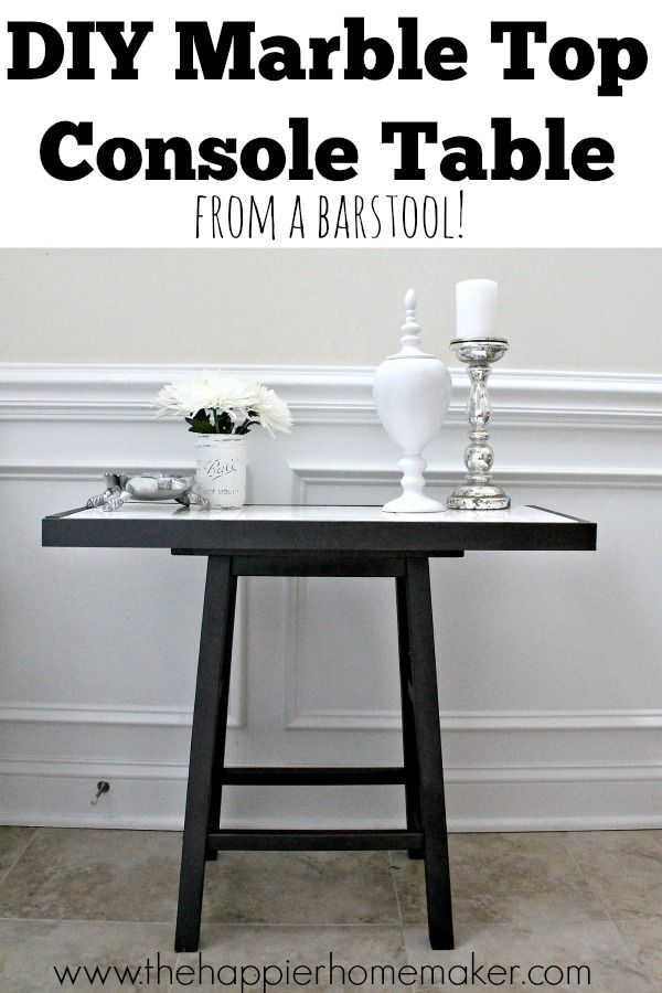Diy Marble Top Table From A Barstool Diy Marble Marble Table Top Marble Top Console Table