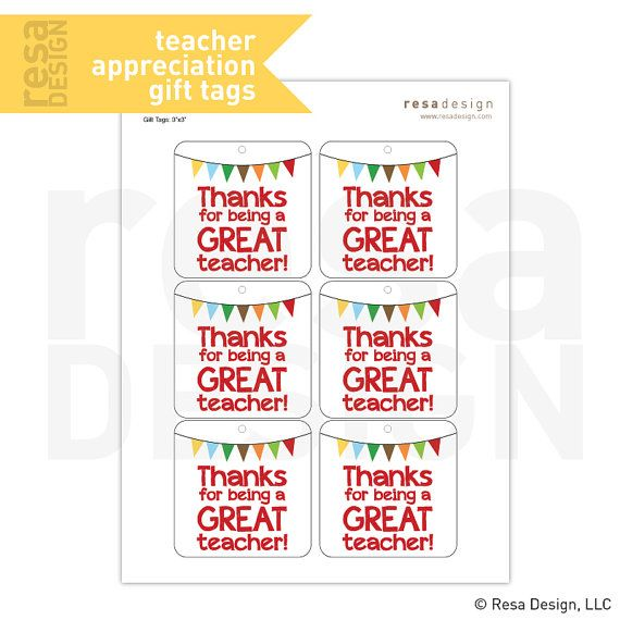 image relating to Teacher Thank You Printable referred to as Instructor Appreciation Present Tags Printable - Printable Present