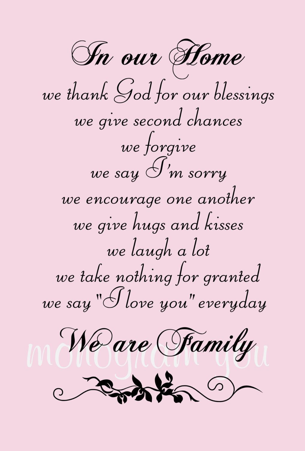 Family Wall Decal Quote In Our Home We Thank God For Our Etsy In 2020 My Family Quotes Family Wall Decals Quotes Family Quotes