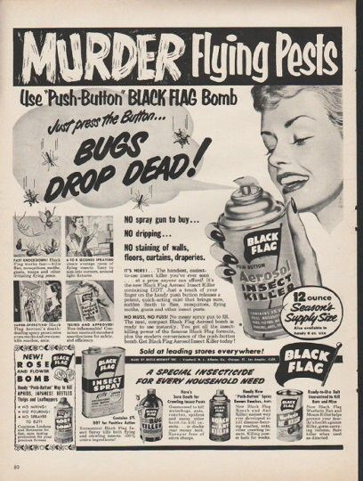 1953 black flag insect killer ad murder flying pests vintage
