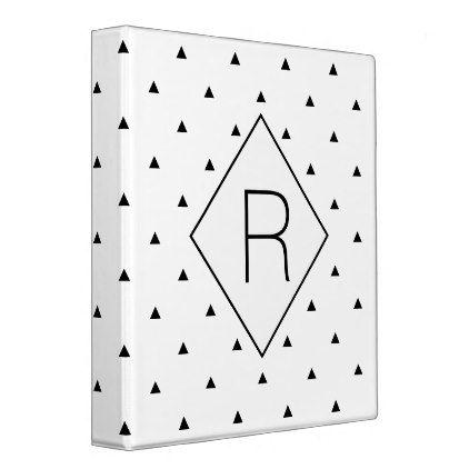 Elegant black white geometric pattern triangles 3 ring binder