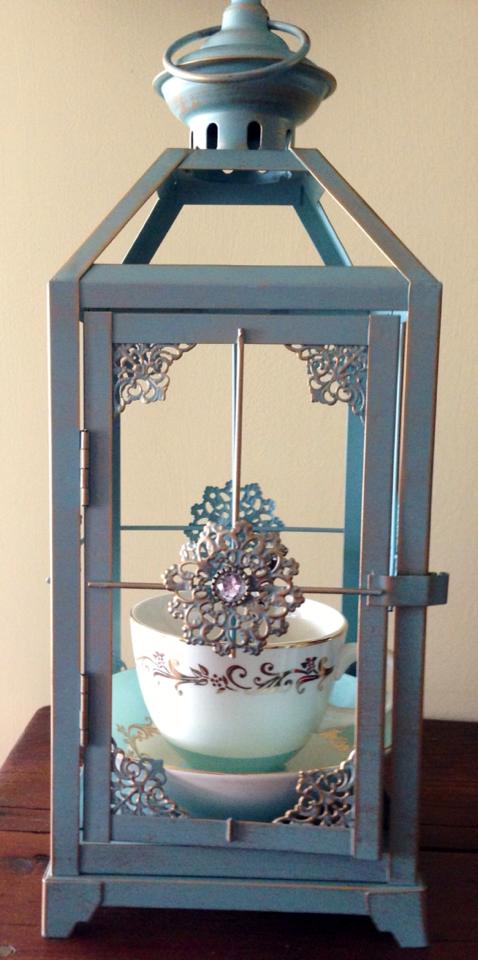 Pretty Lantern with vintage Tea Cup and saucer .... Great bird feeder for smaller birds ...