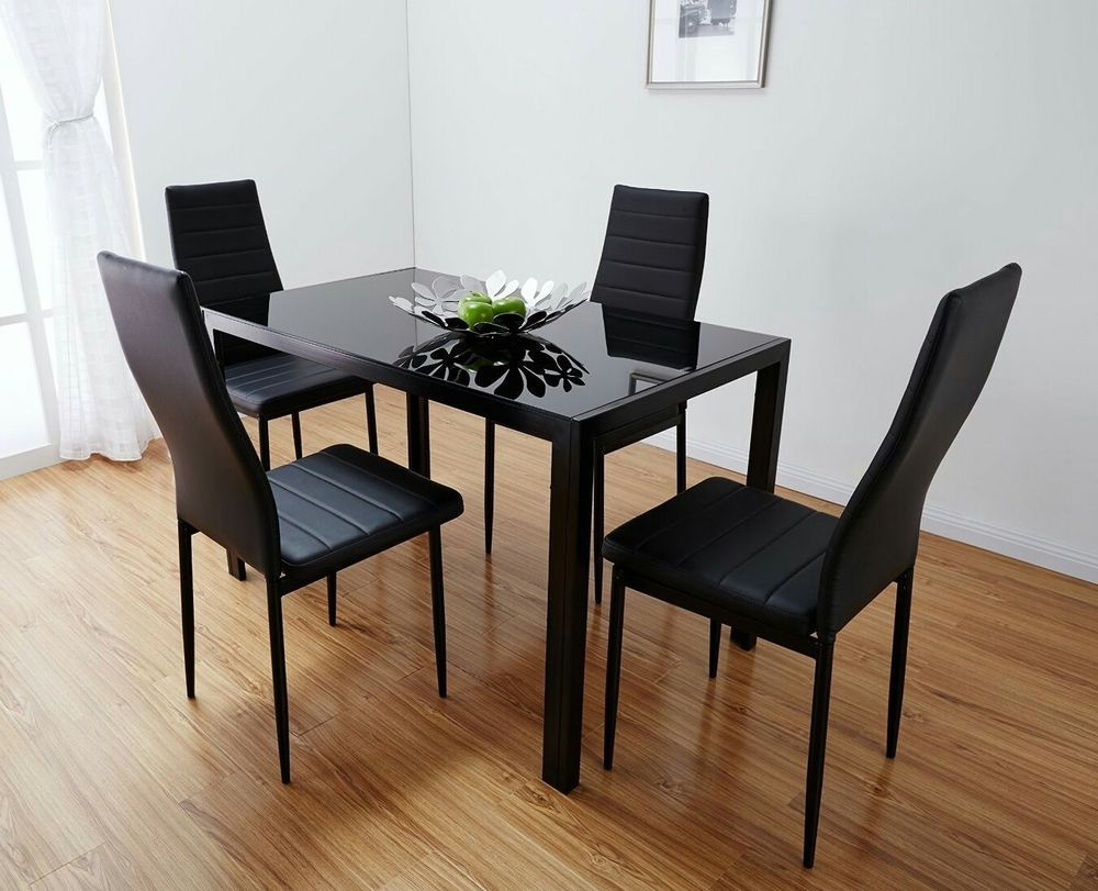 Black Glass Dining Table And 4 Chairs Collect From Wakefield West Yorkshire In Home Furniture