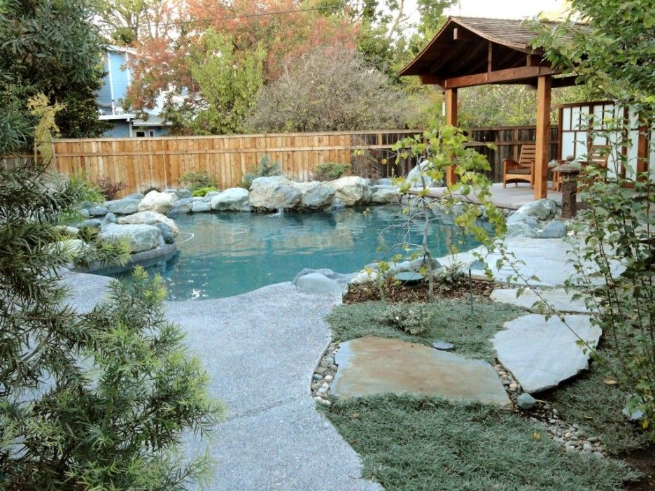 Natural rock swimming pool designs inspiration japanese for Koi pond pool