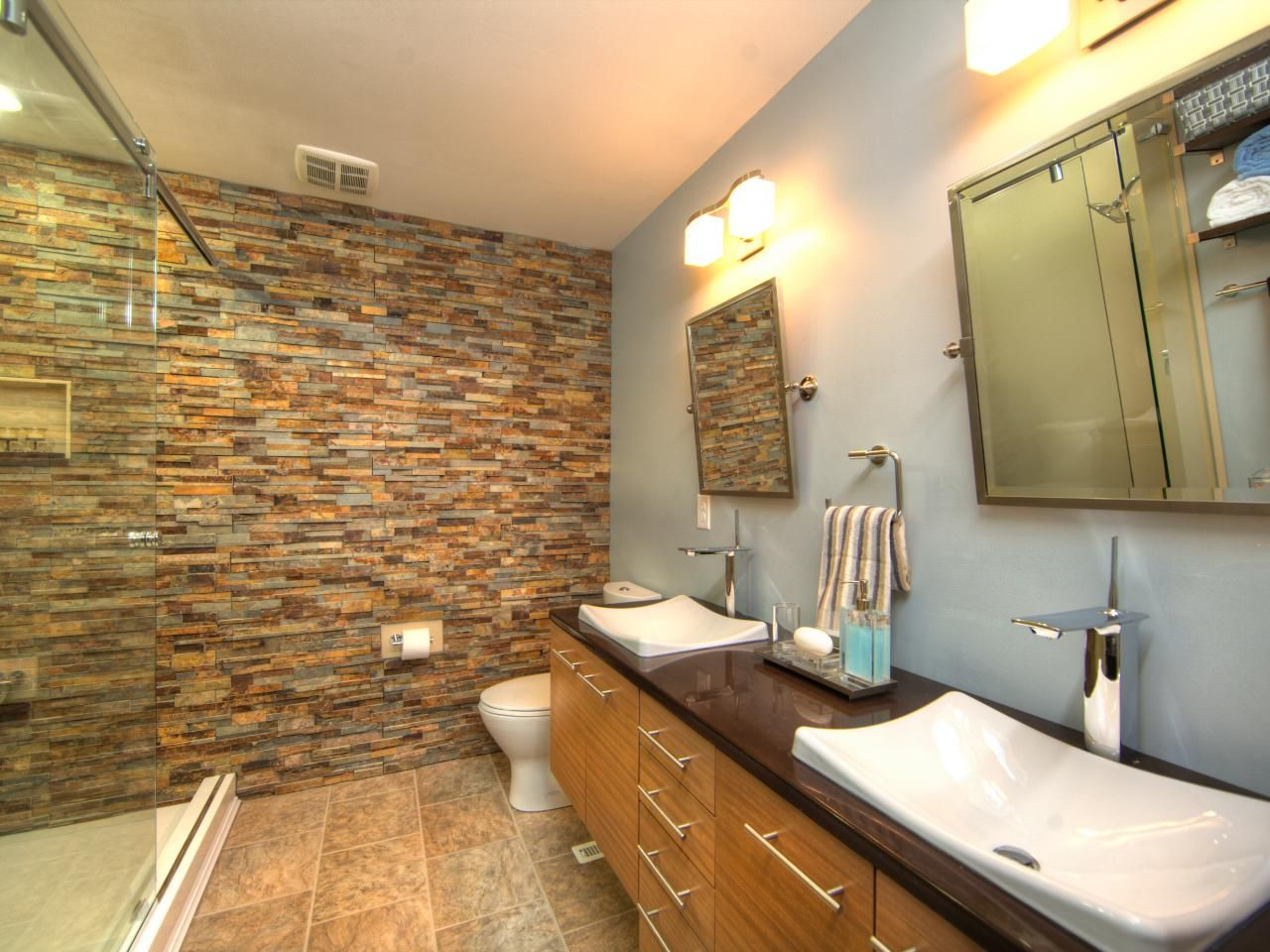 Love Stacked Stone Accent Walls For A Bathroom We Have So Many Colors Easy Diy