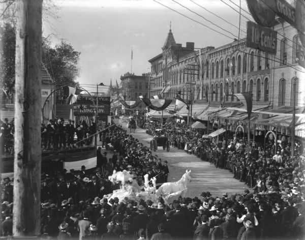 Parade on the Capitol Square | Photograph | Wisconsin Historical Society