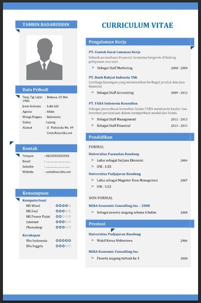 Contoh CV (Curriculum Vitae) yang Baik, Menarik dan Benar File - how to do a resume on microsoft word