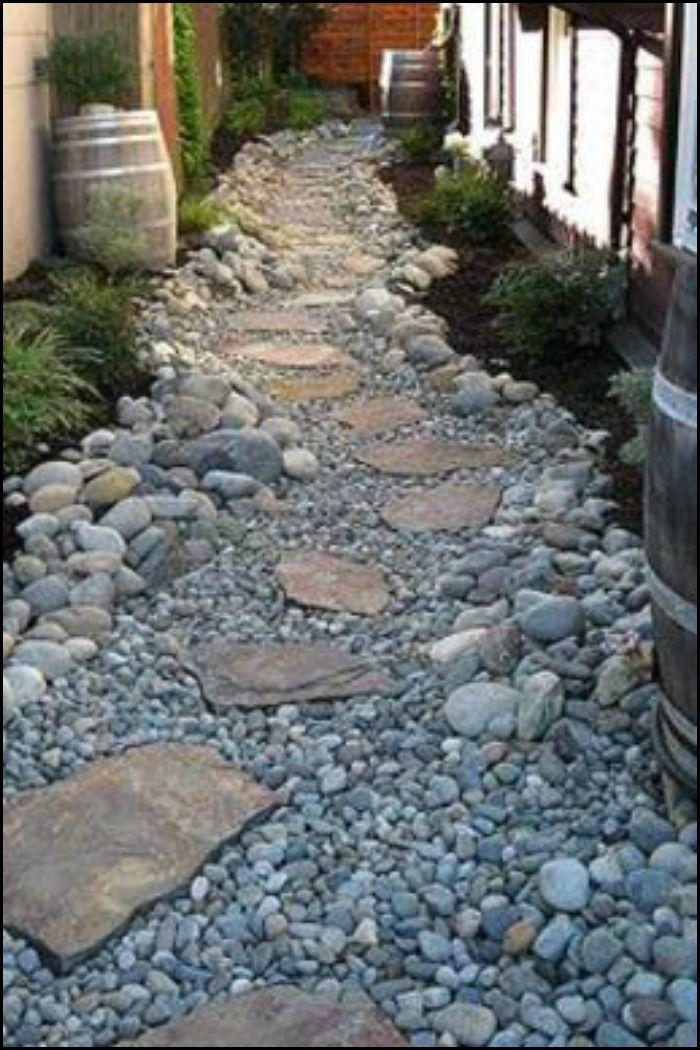 dry creek bed gardens rock pathway