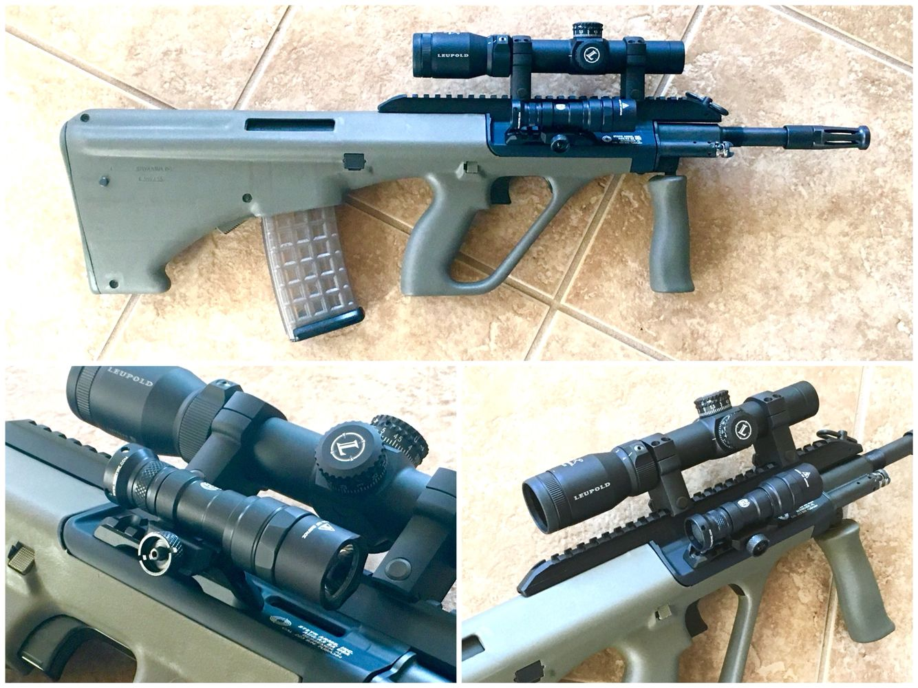 Steyr AUG A3 in OD Green, with Leupold VX 1.25-4x patrol scope and Surefire M300 mini scout light