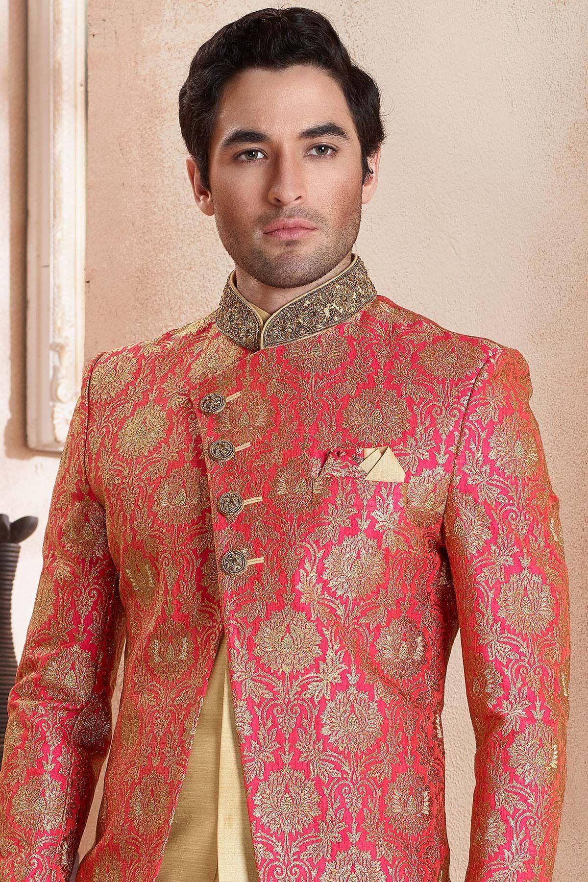 Pink u gold silk zardosi embroidered indo western sherwaniiw