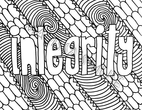 Young Women Values Coloring Page Integrity LDS by