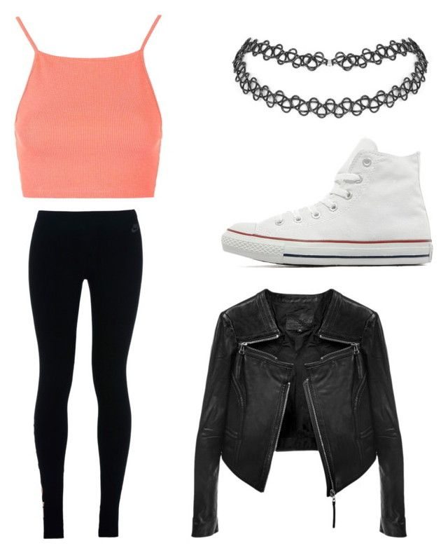 """Lookin cute"" by melenah ❤ liked on Polyvore featuring Topshop, NIKE, Converse and Linea Pelle"