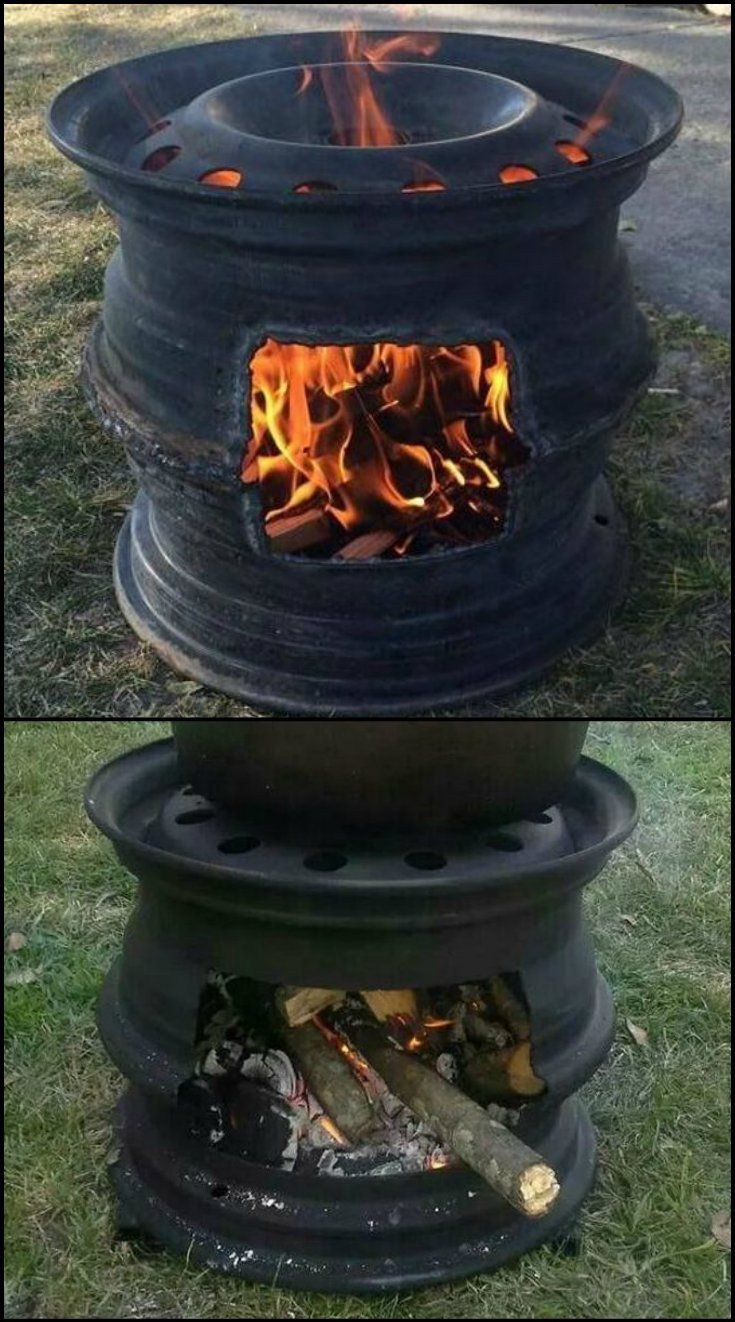 how to build a bbq fire pit from old car rims http