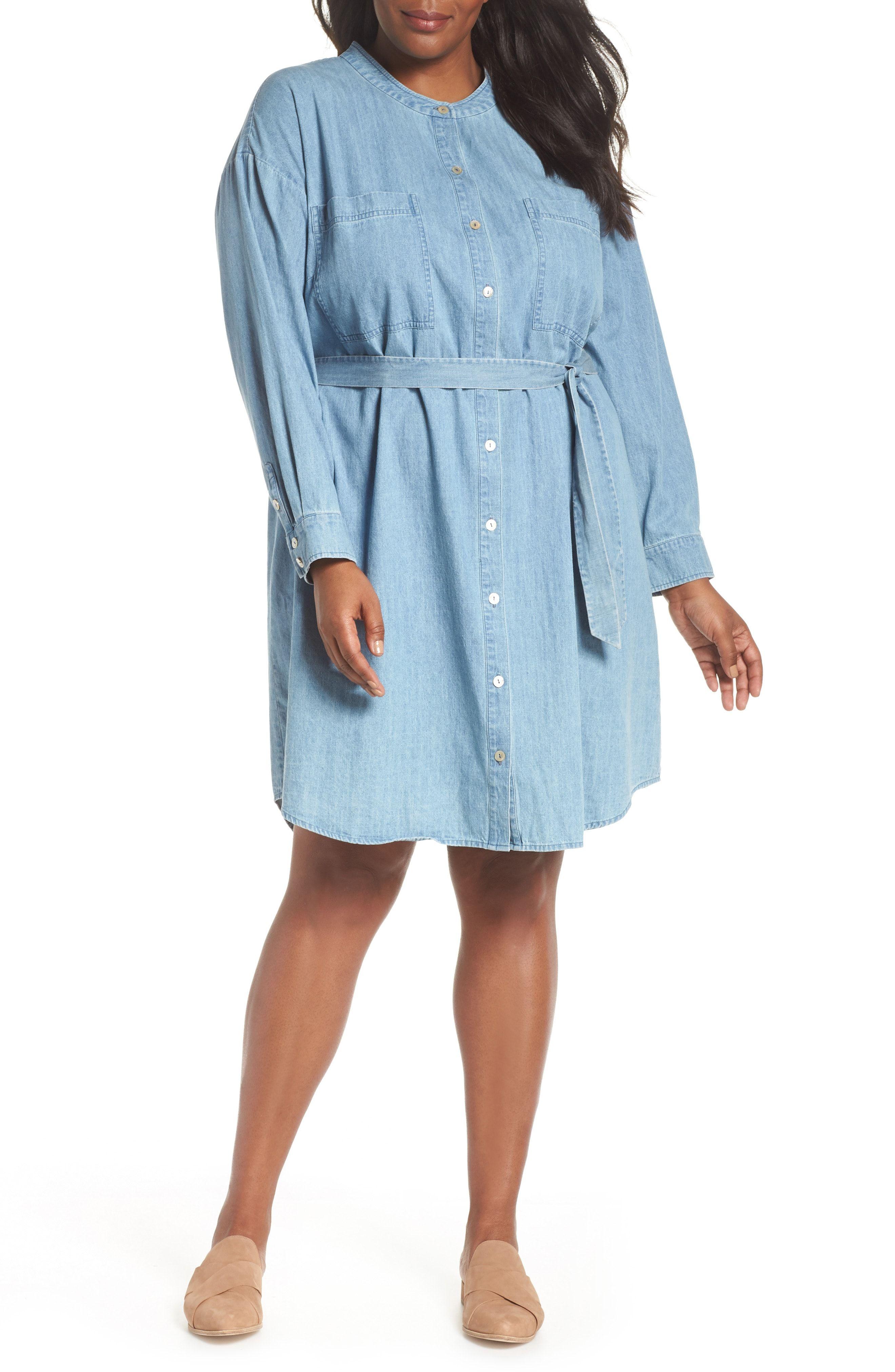 a9d42d98654 Eileen Fisher Organic Cotton Denim Shirtdress (Plus Size)