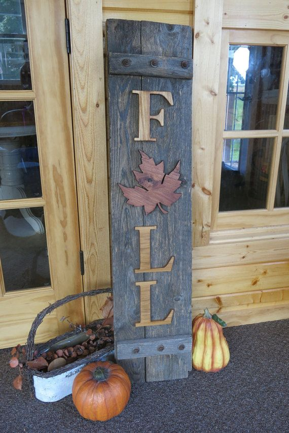 Reclaimed Wood FALL Sign Porch Decoration Thanksgiving BackgroundCountry