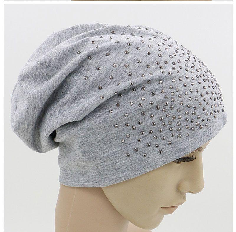 f6d562530a Rhinestone Beanies Women Spring Glitter Knitted Winter Cap Solid ...