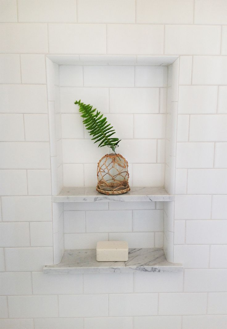 White subway tile shower niche fern leaf home White subway tile
