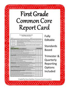 Editable First Grade Report Card Template Common Core Standards Based Grading Third Grade Common Core Common Core Kindergarten Common Core
