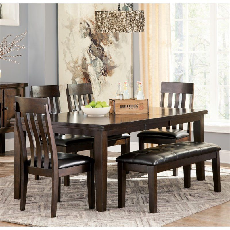 Ashley Haddigan 6 Piece Dining Set With Bench In Dark Brown With