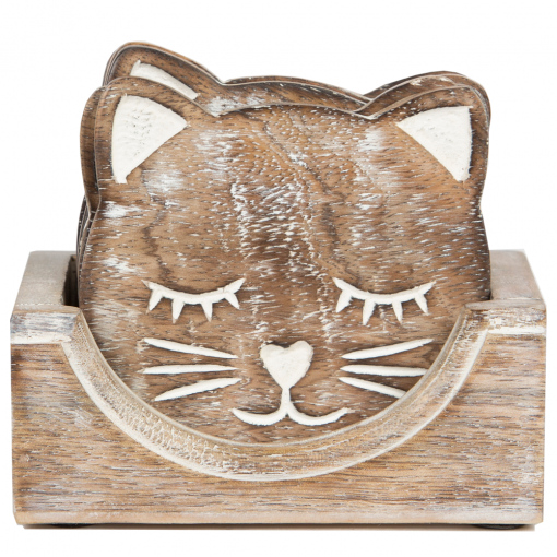 Sass & Belle Set of 6 Carved Cat Coasters @ Flamingo Gifts