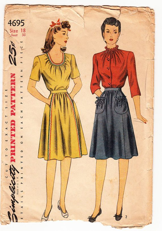 Vintage 1943 Simplicity 4695 Sewing Pattern UNCUT Sewing Pattern Misses' Blouse and Skirt Size 18 Bust 36