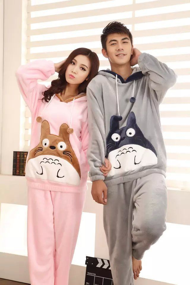 c48aec8b9 2017 Winter Totoro Couple Pajama Sets Animal Warm Sleepwear For Women/Men  Coral fleece cartoon cosplay costume 121503