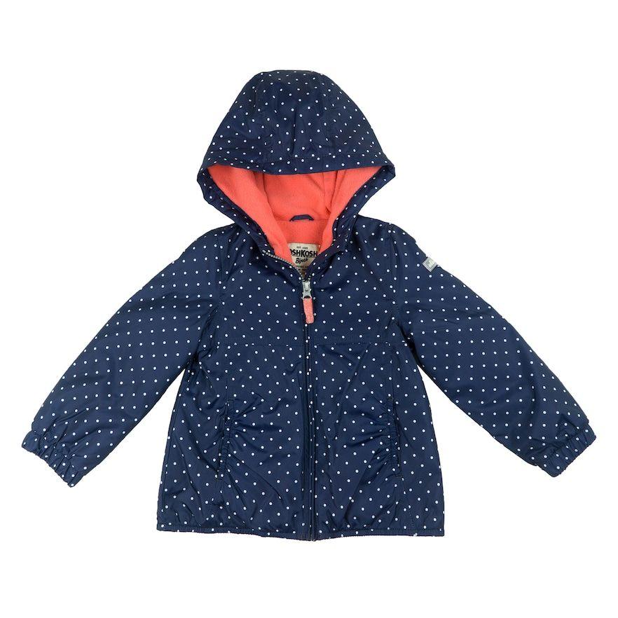 Toddler Girl OshKosh B'gosh® Midweight Polka-Dot Fleece-Lined Jacket, Size: 2T, Blue (Navy)