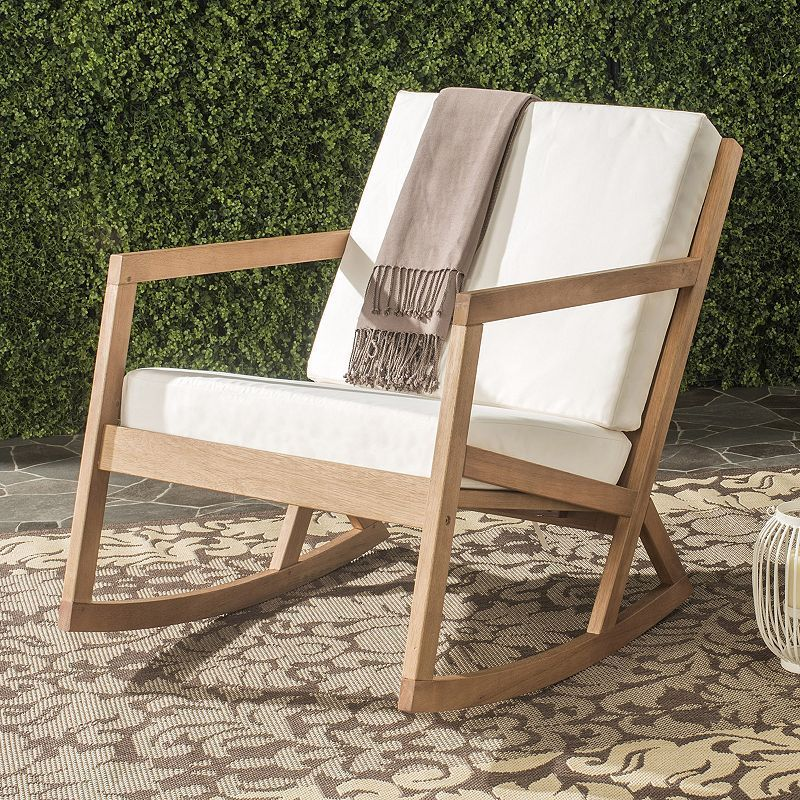 outdoor safavieh vernon patio rocking chair, brown