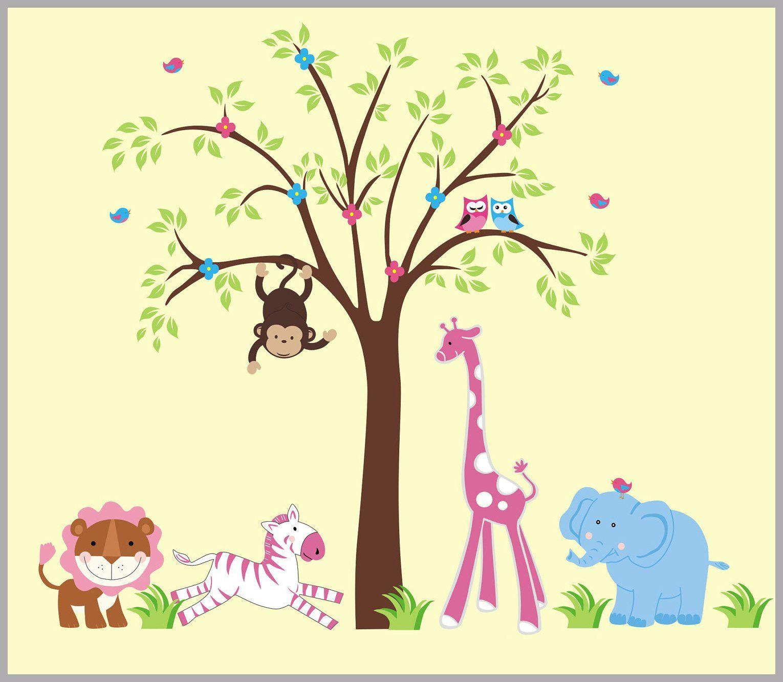 Nursery Wall Decals - Safari Animal Wall Prints - Jungle Animal Wall ...