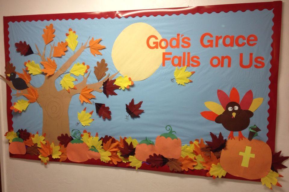 Gods Grace Falls On Us Fall Thanksgiving Bulletin Board Boards Sunday School Crafts