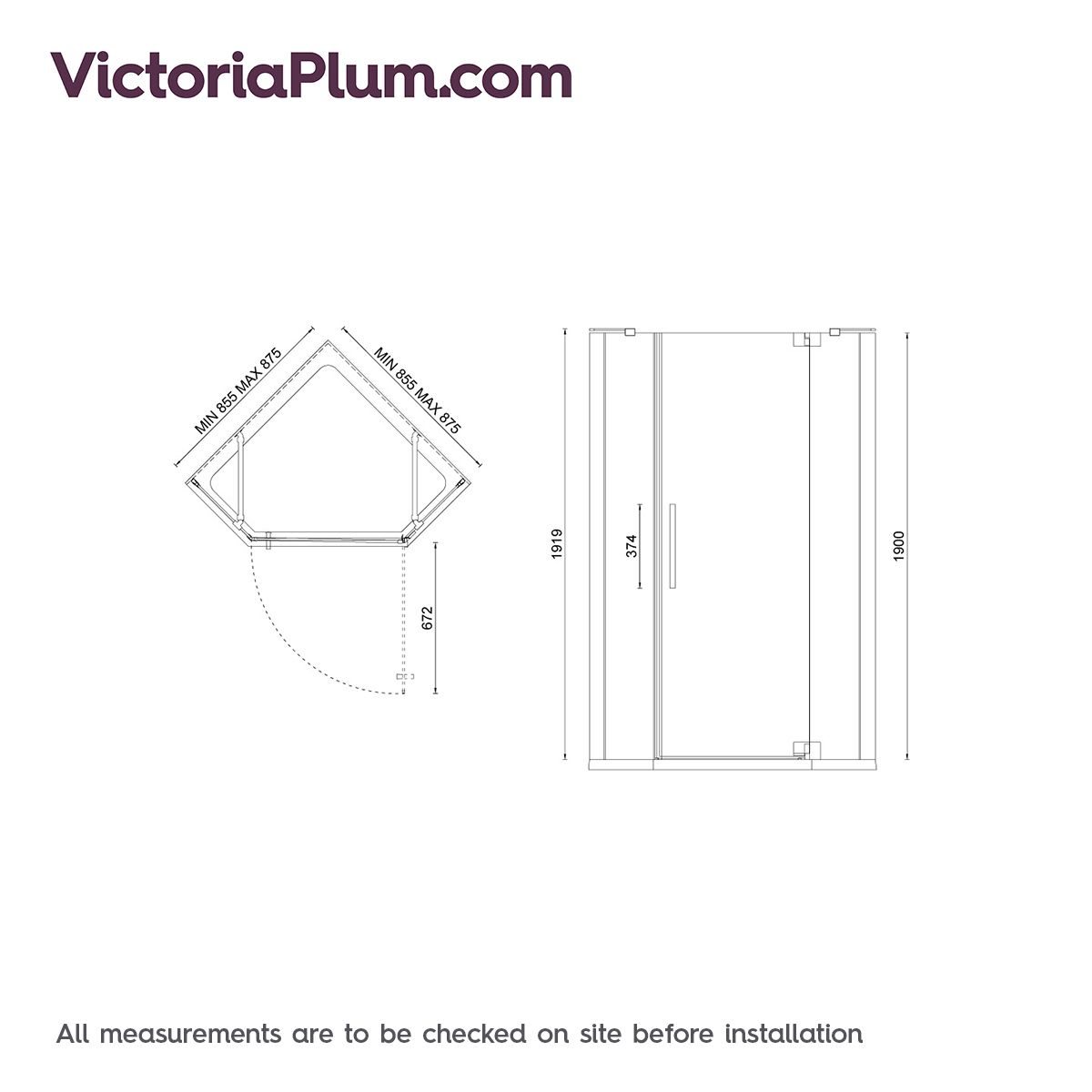 Mode luxury 8mm right handed frameless pentagonal shower enclosure ...
