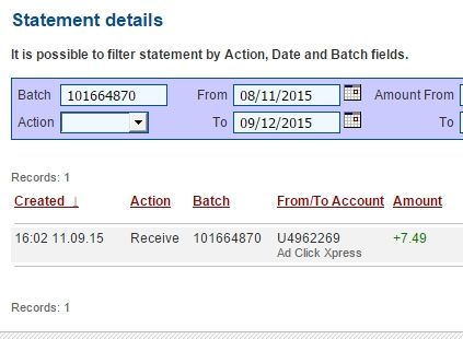 Making Money At ACX Is Simple!!!  Here is my Withdrawal Proof 8 from AdClickXpress. I get paid daily and I can withdraw daily. Online income is possible with ACX, who is definitely paying - no scam here.  I WORK FROM HOME less than 10 minutes and I manage to cover my LOW SALARY INCOME.  I LOVE ACX !  Make money, make money online, online income, ACX, Ad Click Xpress, adclickxpress, withdrawal, paying daily, proof, scam, scam review.